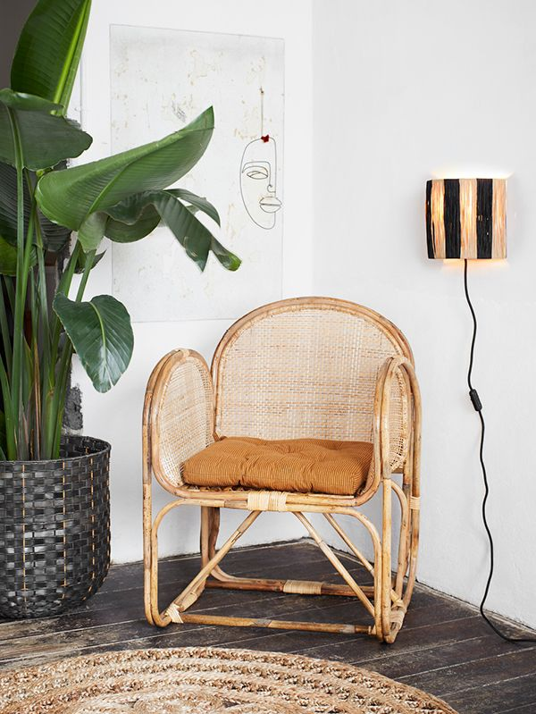 Chaise Bambou & Cannage - 84 cm