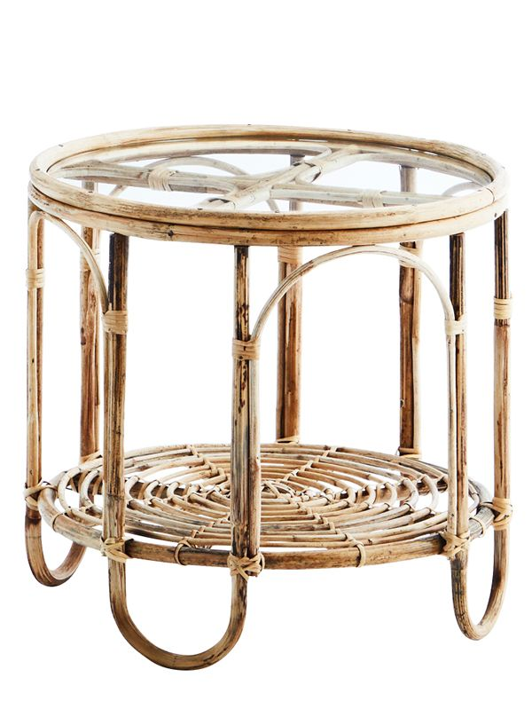 Table d'Appoint Verre & Bambou - 49 cm